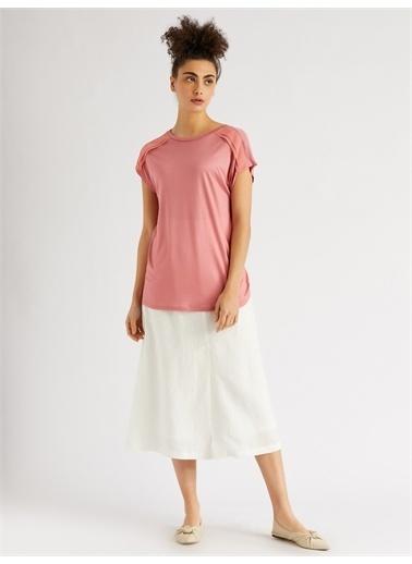 Vekem-Limited Edition Sıfır Yaka Japone Kol Bluz Pembe